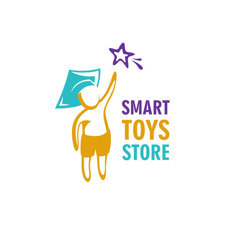 Smart toys store logo idea template. Kid in a graduation hat reaching for the star. Vettoriali