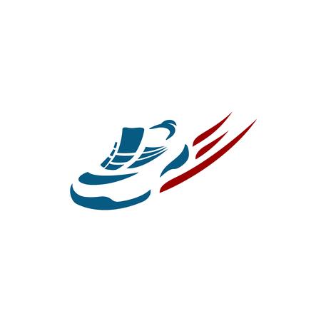 stride: Speeding running shoe sport logo Illustration