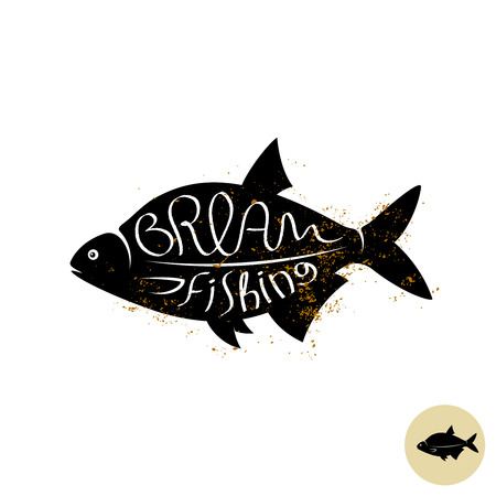 aquaculture: Bream fish vector logo with text Illustration