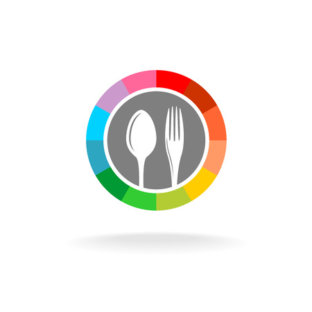 eat: Spoon and fork in a rainbow circle frame colorful logo