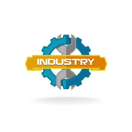 industry logo: Gear and wrench industrial service logo template Illustration