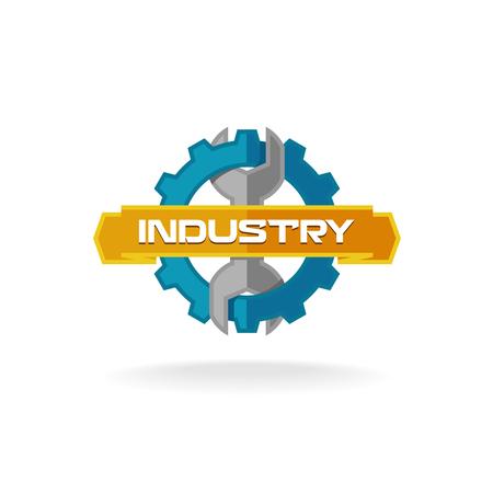 industriales: Gear y llave de servicios industriales logotipo de la plantilla