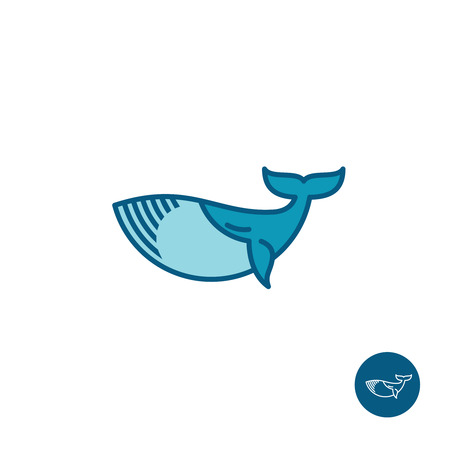 symbol icon: Whale simple outline vector logo Illustration
