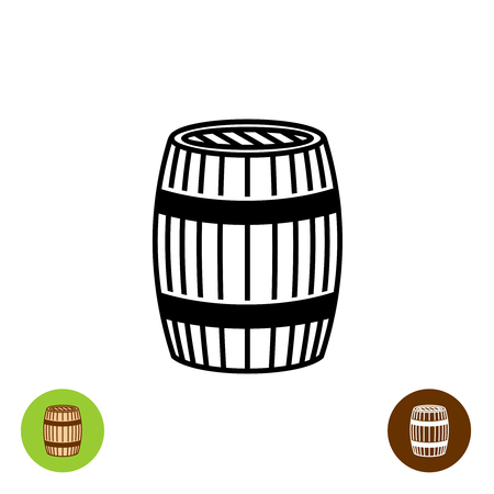beer barrel: Wooden barrel vector logo. Simple black symbol.