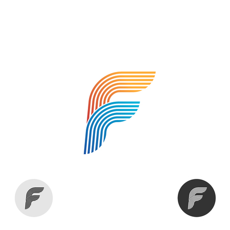 multi: Letter F color multi linear style logo