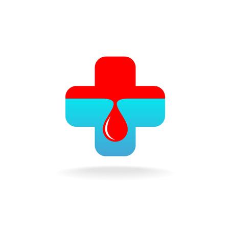 logo medicina: Blood donation logo. Medicine blue cross with red blood drop.