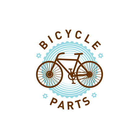 gear symbol: Bicycle parts repair logo. Bike silhouette on the gear background. Service symbol. Illustration