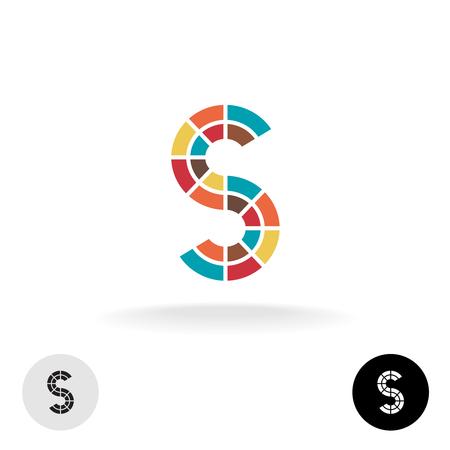 Letter S kleurrijke deeltjes vector logo