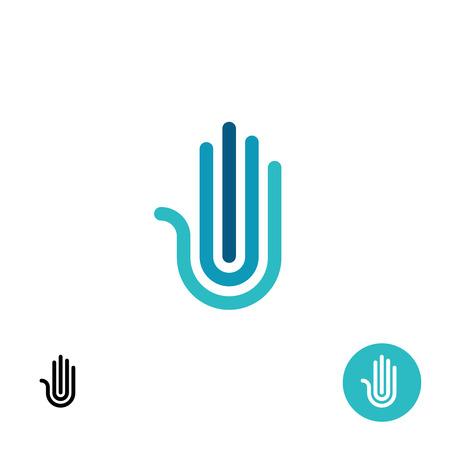 symbol hand: Hand stilisierten Linie Logo. Schwarz-Wei�-Varianten enthalten. Illustration