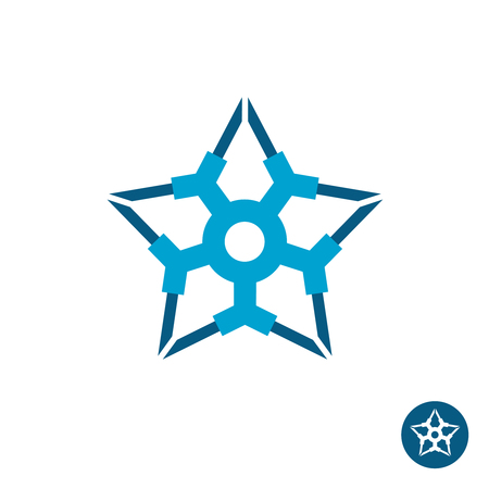 industrial decor: Star industrial tech logo. Military geometric sign.