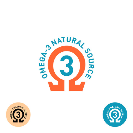Omega 3 symbol. Natural product properties logo.