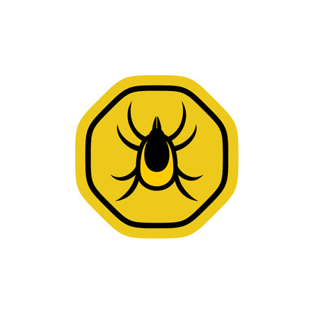 lyme disease: Tick insect vector symbol. Mite warning sign.