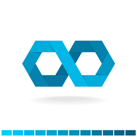 Hex infinity blue logo. Origami flat ribbon style sign.