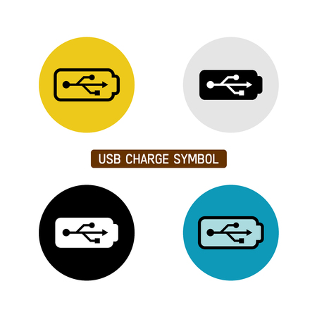 USB wire battery charge symbol. Variations with different icon color. Illustration