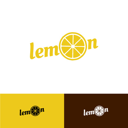 lemon: Lemon text logo with slice in a O letter place Illustration