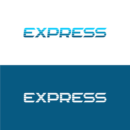 horizontal: Express word logo. Divided with four horizontal lines apart.