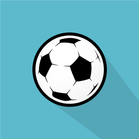 tail: Soccer bal with transparent tail shadow flat illustration