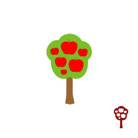 apple red: Fruit apple tree logo vector