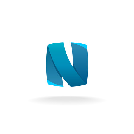 Letter N color blue ribbon logo