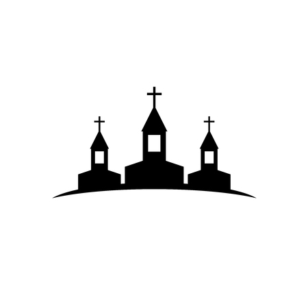 old church: Three church vector silhouettes logo. Illustration