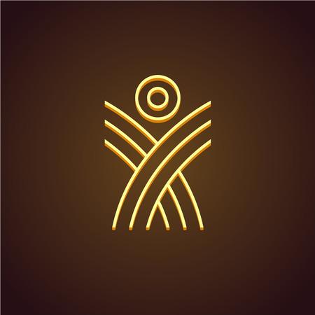 human figure: Cifra plantilla de logotipo lineal Humano. Monoline elevándose concepto. Planta dispara con sol.