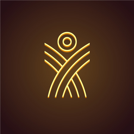 rise: Human figure linear logo template. Monoline rising up concept. Plant shoots with sun.
