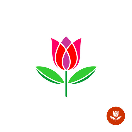 red tulip: Tulip bud with leaves vector logo. Simple symmetry flat style.