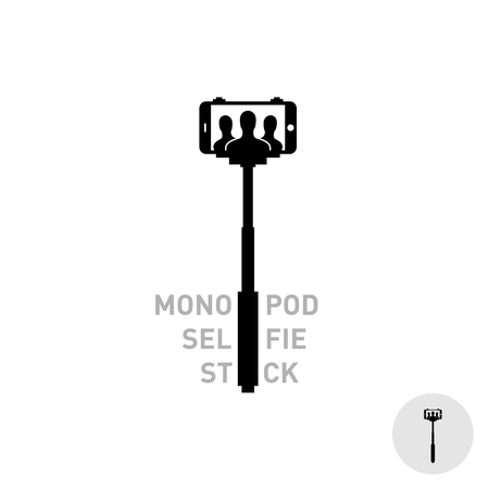 black people: Selfie monopod stick symbol with smartphone and people silhouettes in a frame. Simple black style.