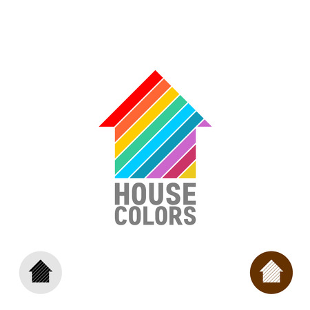 painter: House silhouette with colorful paint stripes logo template.