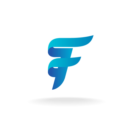 Letter F logo. Elegant smooth lines color ribbon style. Çizim