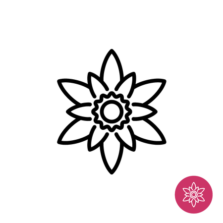 mono color: Lotus flower simple vector logo. Mono line style. Easy one click color change. Illustration