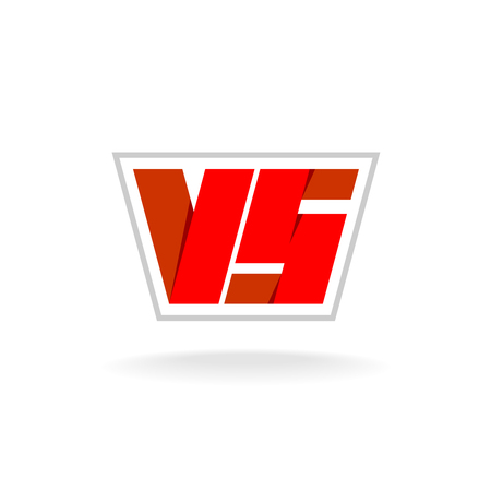 Versus letters logo. Red letters V and S flat style symbol. Illustration