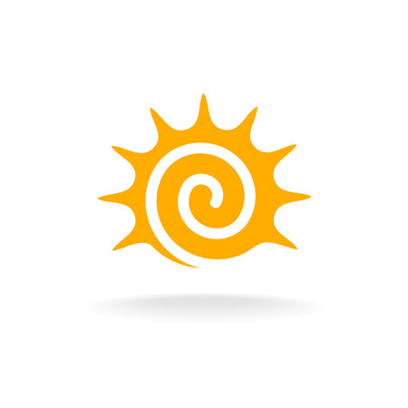 sunny beach: Sun spiral logo. Simple sunshine stylized tribal symbol.