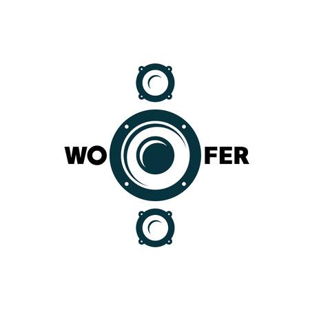 Subwoofer simple black symbol. Car music . Illustration