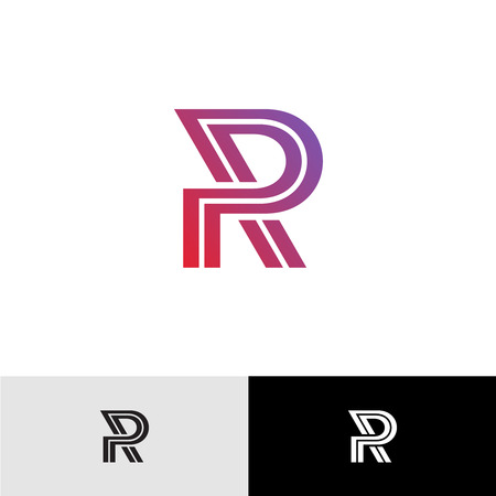 r: Letter R logo. Simple elegant linear style for business and financial purposes