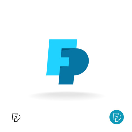 letter f: F and P letters together monogram logo Illustration