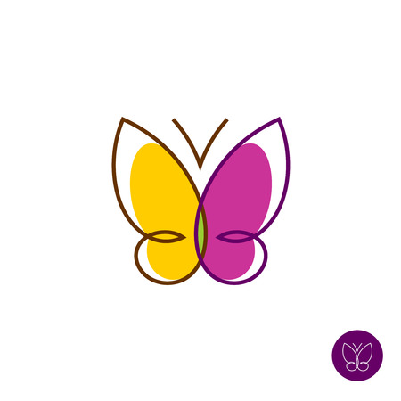Butterfly simple colorful linear logo template