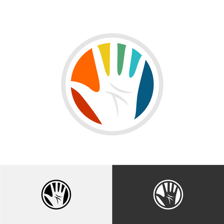 freedom concept: Human hand in a colorful round shape logo template Illustration