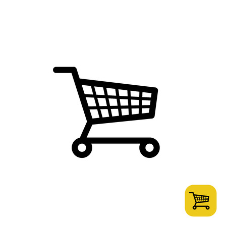 on line shopping: Shopping cart simple black sign
