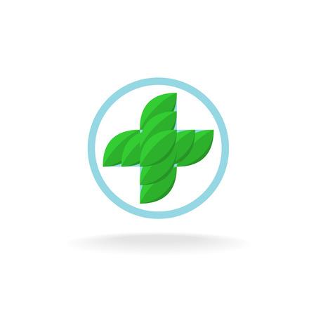 medicine logo: Herbal medicine green cross with leaves logo