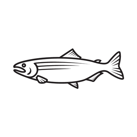 Salmon simple black outline isolated logo