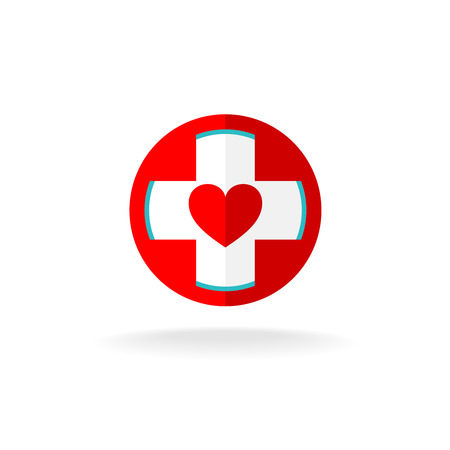 hearty: Heart inside of the cross medical  template