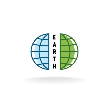 half: Half divided globe logo Illustration