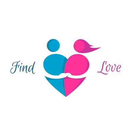 Liebespaare Herz-Logo. Dating Service-Zeichen. Illustration
