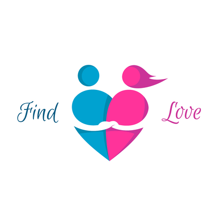 Love couple heart logo. Dating service sign.