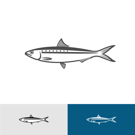 Sardine silhouette black symbol with variations