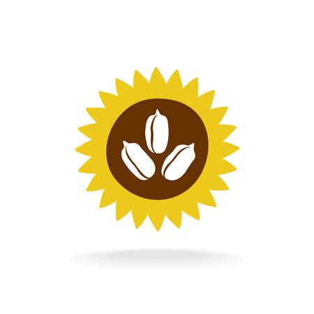 girasol: logotipo de girasol con el icono de semillas Vectores