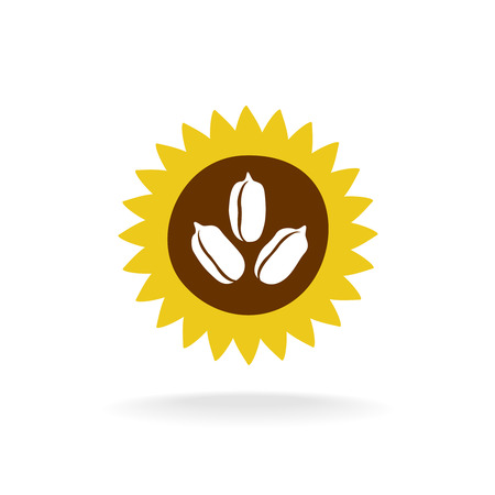 a sunflower: Sunflower logo with seeds icon