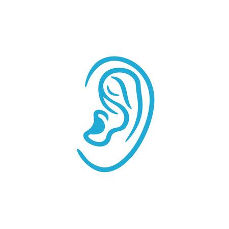ears: Human ear simple linear logo icon Illustration