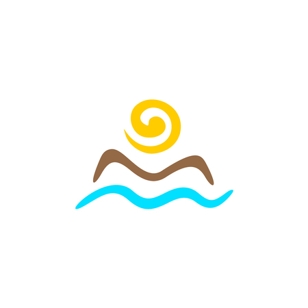 Sun with mountain silhouette and sea waves abstract logo template Illustration